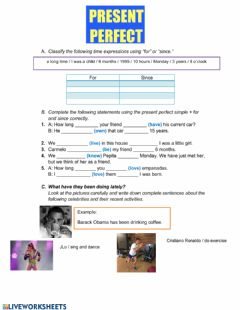 Interactive worksheet Present Perfect Simple vs Present Perfect Continuous