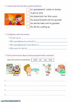 Interactive worksheet Past tense - listening and writing