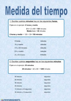 Interactive worksheet Medida del tiempo