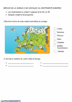 Interactive worksheet Continente europeo