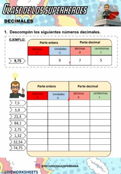 Interactive worksheet Descomposición números decimales.