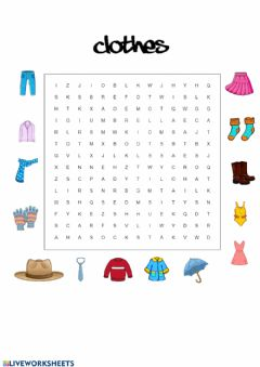 Interactive worksheet Clothes Word Search