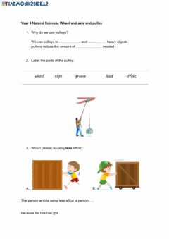 Interactive worksheet wheel and axle and pulley.