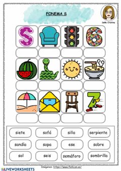 Interactive worksheet Fonema S