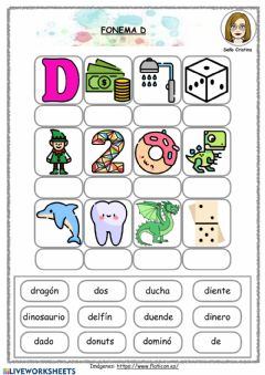 Interactive worksheet Fonema D