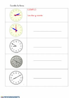 Interactive worksheet Las horas 2