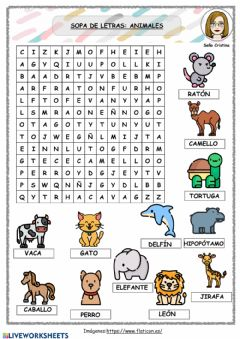Interactive worksheet Sopa de letras animales nivel 1