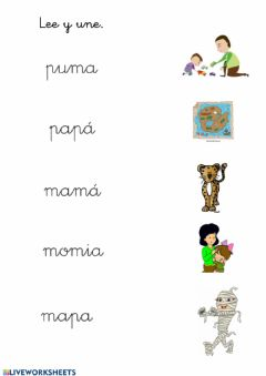 Interactive worksheet Lectura m y p