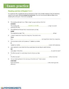 Interactive worksheet B2 First - Reading and Use of English part 4
