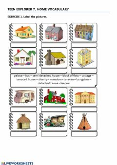 Ficha interactiva Teen Explorer 7 House- vocabulary 1.