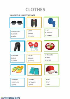 Interactive worksheet Clothes multiple choice