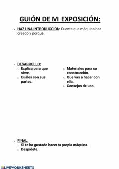 Interactive worksheet Guión