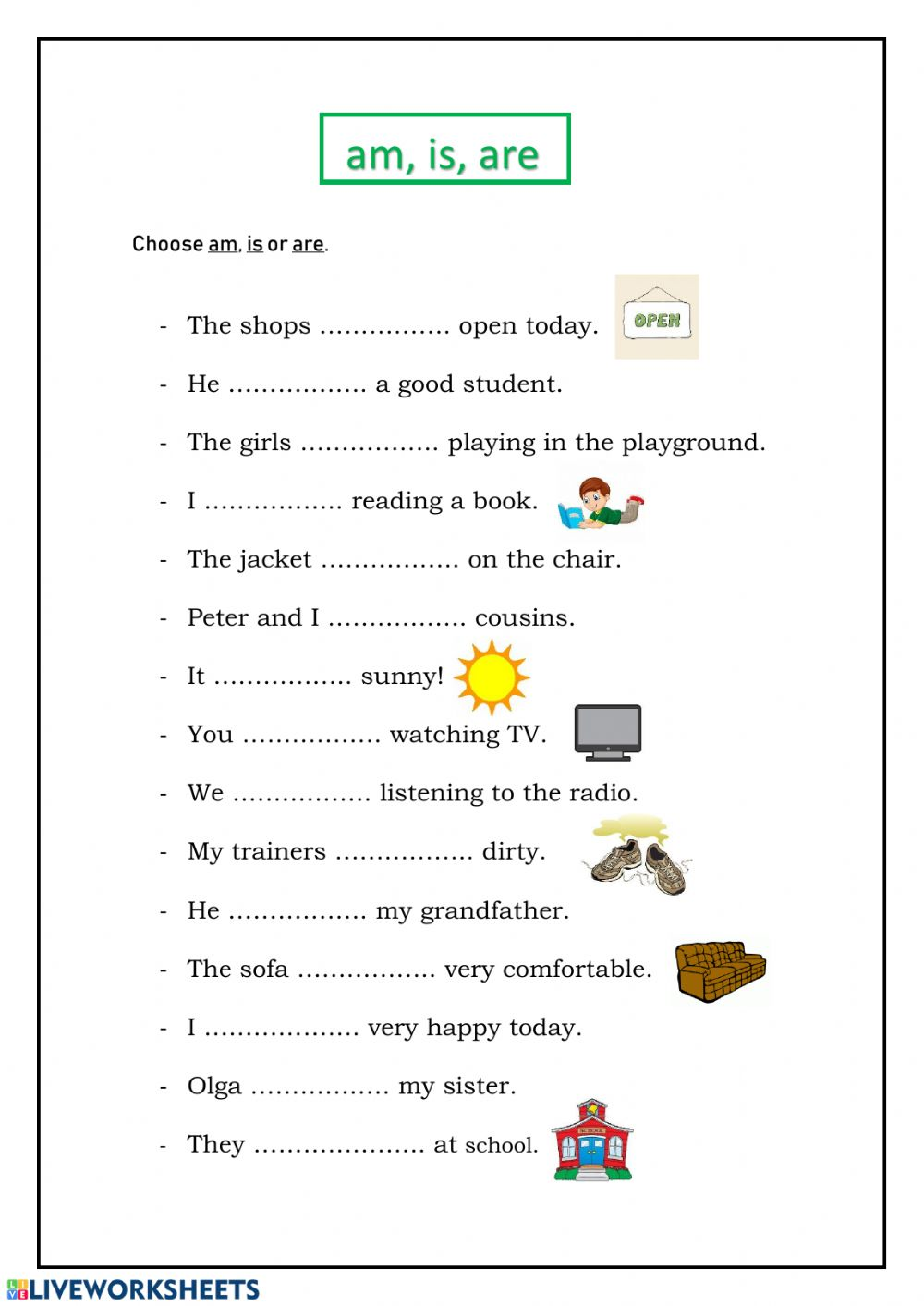 Verb to be worksheet for Grade 3