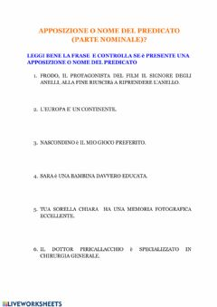 Interactive worksheet L'apposizione