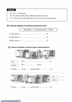 Interactive worksheet Dirua