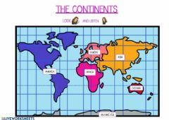 Interactive worksheet The continents