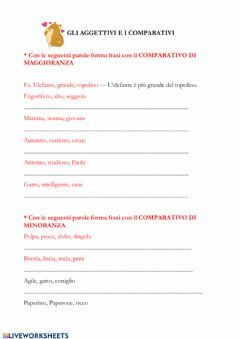 Interactive worksheet Aggettivi qualificativi: comparativi