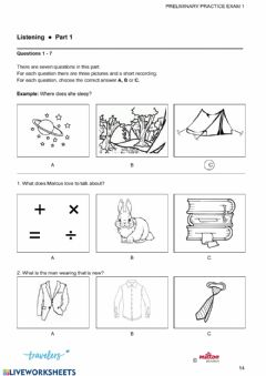 Interactive worksheet PET Practice Test Listening Parts 1 and 2