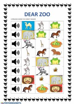 Interactive worksheet Dear zoo