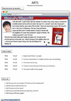 Ficha interactiva Tommy's Review (Reading Comprehension)