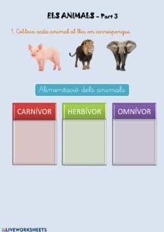 Interactive worksheet Els animals - Part 3