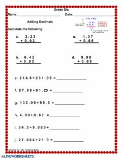 Interactive worksheet Adding Decimals