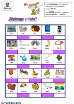 Interactive worksheet Diptongos e Hiatos