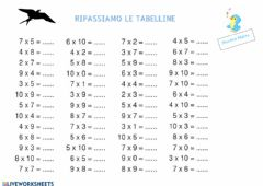 Interactive worksheet Tabelline