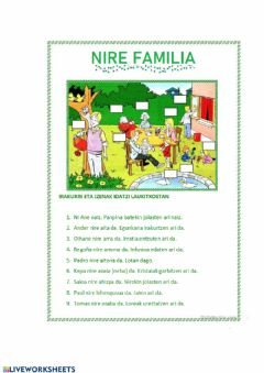Interactive worksheet Nire familia