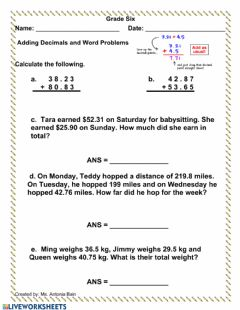 Interactive worksheet Adding Decimals with Word Problems