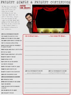 Interactive worksheet Mr Bean Present Simple VS Present Continuous Practice