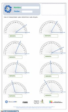 Interactive worksheet Medir ángulos 01