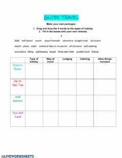 Interactive worksheet Package tours