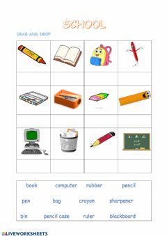 Interactive worksheet T1 school objects 2