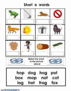 Interactive worksheet Short o word bank