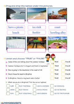Interactive worksheet Summer holidays