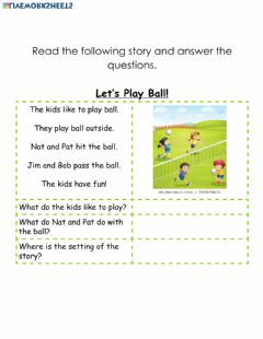 Interactive worksheet Reading Comprehension-Let's Play Ball!