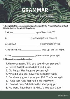 Interactive worksheet Present perfect vs. past simple
