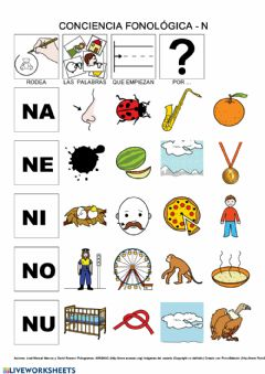 Interactive worksheet Conciencia fonológica N