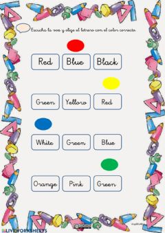 Interactive worksheet Choose the colour