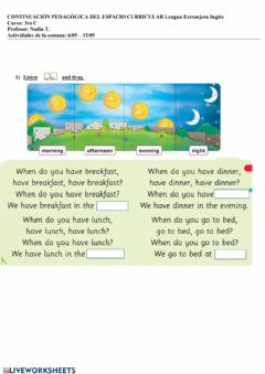 Interactive worksheet Daily routines plan5