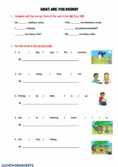 Interactive worksheet What are they doing?