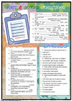 Interactive worksheet First and Second Conditional