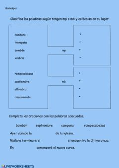 Interactive worksheet Clasificar palabras mp mb