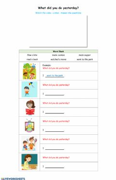 Interactive worksheet What did you do yesterday!