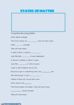 Interactive worksheet The three states of matter