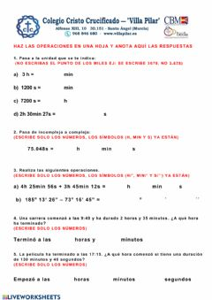 Interactive worksheet Sistema sexagesimal - test 5º