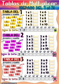 Interactive worksheet Tablas de Multiplicar del 1, 2 y 3.