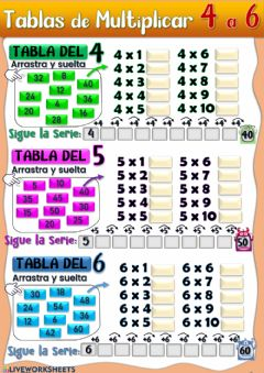 Interactive worksheet Tablas de Multiplicar del 4, 5 y 6.