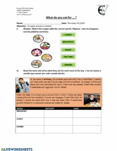 Interactive worksheet Meals of the day